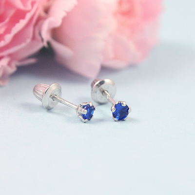 Sterling Birthstone Baby Earrings