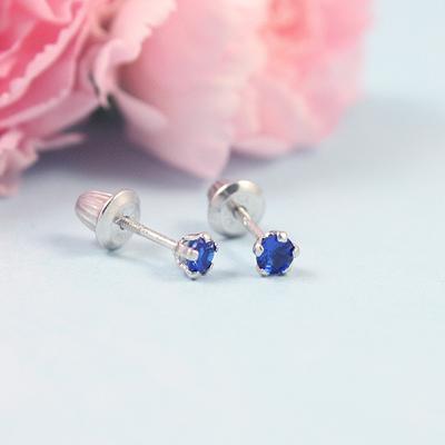 Sterling Birthstone Baby Earrings
