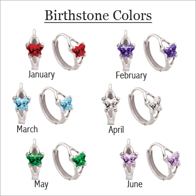 10kt Gold Butterfly Birthstone Huggies - 1395