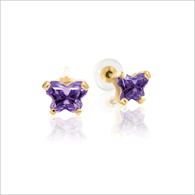 10kt gold children's birthstone earrings with tiny butterfly shaped cz birthstone, February shown.