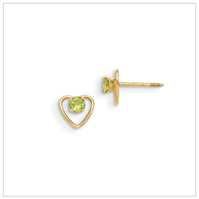 14kt gold heart and birthstone earrings. Beautiful screw back earrings with August birthstone.