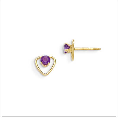 14kt gold heart and birthstone earrings. Beautiful screw back earrings with February birthstone.