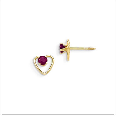 14kt gold heart and birthstone earrings. Beautiful screw back earrings with July birthstone.