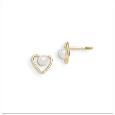 14kt gold heart and birthstone earrings. Beautiful screw back earrings with June birthstone.