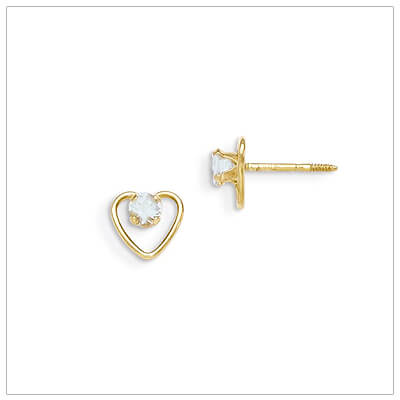 14kt gold heart and birthstone earrings. Beautiful screw back earrings with March birthstone.