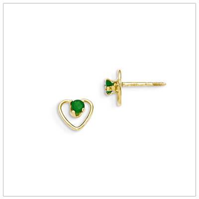 14kt gold heart and birthstone earrings. Beautiful screw back earrings with May birthstone.
