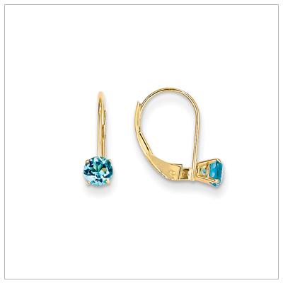 14kt Leverback Birthstone Earrings, Dec.