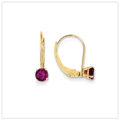 14kt Leverback Birthstone Earrings, June