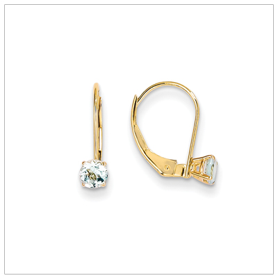 14kt Leverback Birthstone Earrings, Mar.
