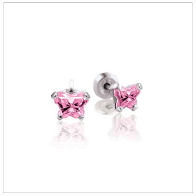 Sterling silver childrens birthstone earrings with a tiny butterfly shaped cz birthstone.