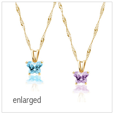 10kt Gold Butterfly Birthstone Necklace for kids