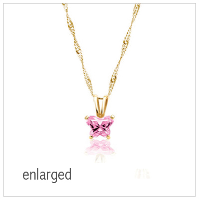 Enlarged butterfly birthstone necklace in 10kt gold