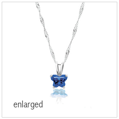 Enlarged butterfly birthstone necklace in 10kt white gold