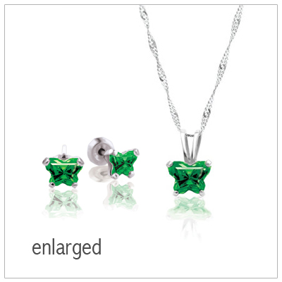 10kt White Gold Butterfly Birthstone Necklace and Earring Set for kids