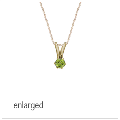 August birthstone necklace for girls in 14kt yellow gold with genuine birthstone.
