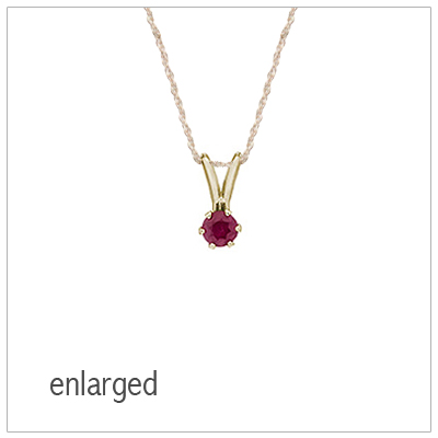 July birthstone necklace for girls in 14kt yellow gold with genuine birthstone.