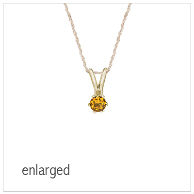 November birthstone necklace for girls in 14kt yellow gold with genuine birthstone.