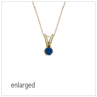 September birthstone necklace for girls in 14kt yellow gold with genuine birthstone.