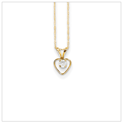 Birthstone necklace for April in 14kt gold, open heart set with genuine 3mm birthstone.