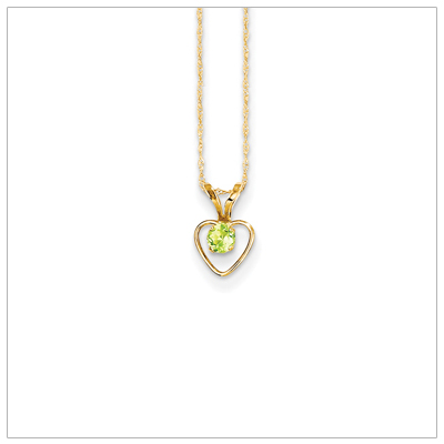 Birthstone necklace for August in 14kt gold, open heart set with genuine 3mm birthstone.