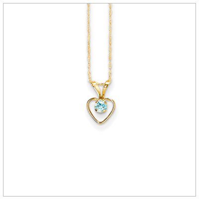 Birthstone necklace for December in 14kt gold, open heart set with genuine 3mm birthstone.