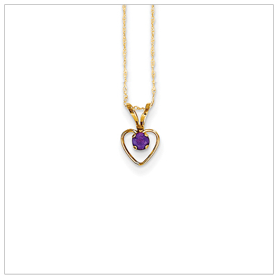 Birthstone necklace for February in 14kt gold, open heart set with genuine 3mm birthstone.