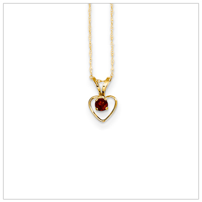 Birthstone necklace for January in 14kt gold, open heart set with genuine 3mm birthstone.