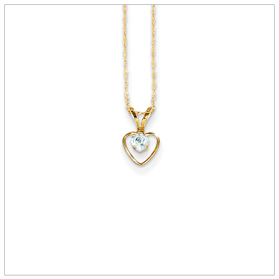 Birthstone necklace for March in 14kt gold, open heart set with genuine 3mm birthstone.