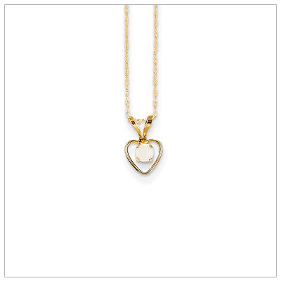 Birthstone necklace for October in 14kt gold, open heart set with genuine 3mm birthstone.