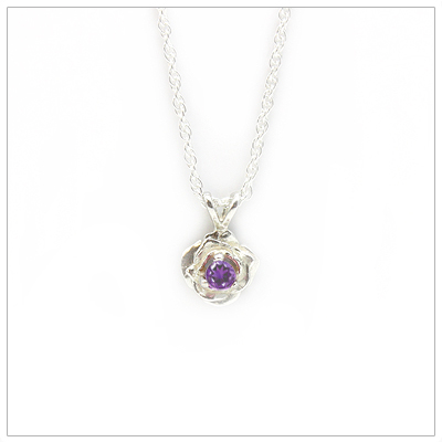 February birthstone necklace in rose shaped sterling silver setting, genuine amethyst birthstone.