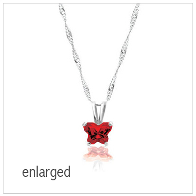 Sterling silver birthstone necklace for girls with a butterfly shaped cz birthstone. All 12 birthstones are available on our necklace.