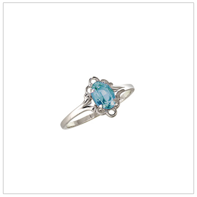 Silver birthstone ring for children with synthetic oval birthstone, December birthstone ring.