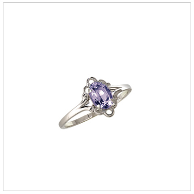 Silver birthstone ring for children with synthetic oval birthstone, February birthstone ring.