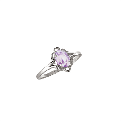 Silver birthstone ring for children with synthetic oval birthstone, June birthstone ring.