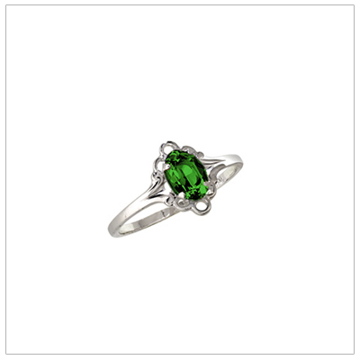 Silver birthstone ring for children with synthetic oval birthstone, May birthstone ring.