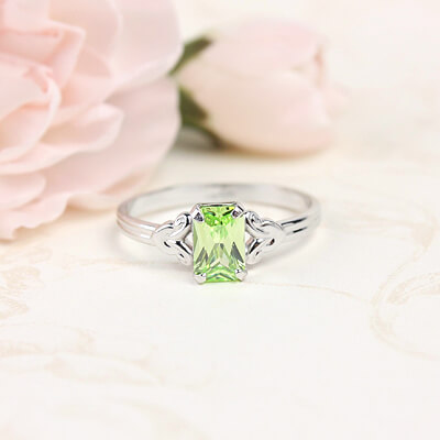 Sterling silver birthstone ring for girls with a synthetic square birthstone, August birthstone ring.