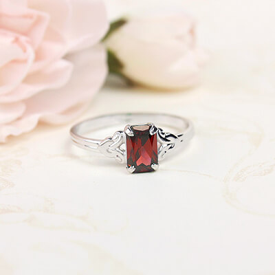 Sterling silver birthstone ring for girls with a synthetic square birthstone, January birthstone ring.