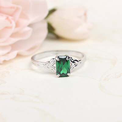 Sterling silver birthstone ring for girls with a synthetic square birthstone, May birthstone ring.