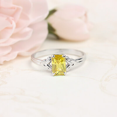 Sterling silver birthstone ring for girls with a synthetic square birthstone, November birthstone ring.