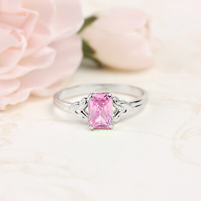 Sterling silver birthstone ring for girls with a synthetic square birthstone, October birthstone ring.