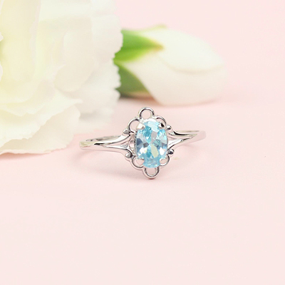 March birthstone ring for girls in sterling silver with a synthetic oval birthstone.