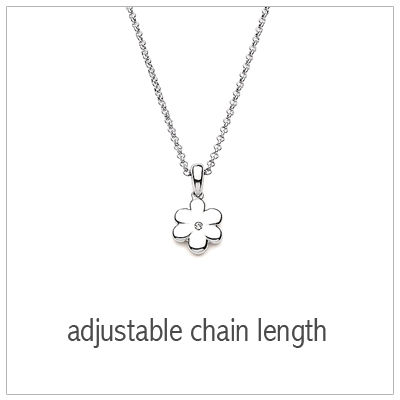 "Adorable flower necklace for kids with genuine 1pt. diamond, includes adjustable ""grow"" chain."
