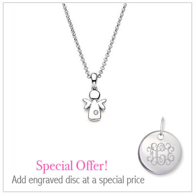 Sterling silver crown necklace for children set with genuine diamond. Add an engraved disc to the necklace at a special price.