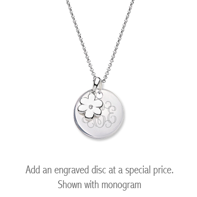 Sterling silver diamond flower necklace for children with personalized disc.