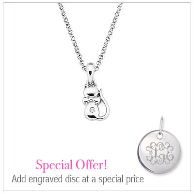 Sterling silver kitten necklace for children set with genuine diamond. Add an engraved disc to the necklace at a special price.