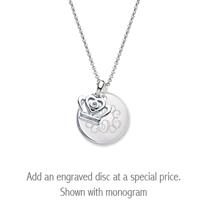 Sterling silver diamond crown necklace for children with personalized disc.