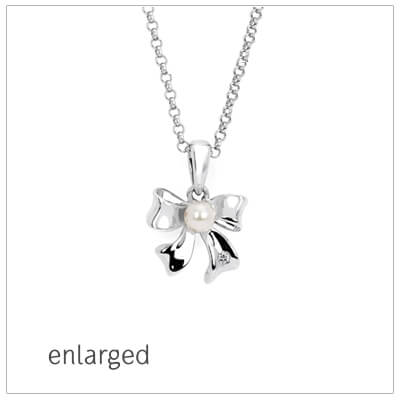 "Sterling silver bow necklace with 1pt diamond. Adjustable ""grow""chain. Kids jewelry"