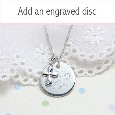 Diamond Cross necklace in sterling silver. Add an engraved disc to personalize. Children's jewelry