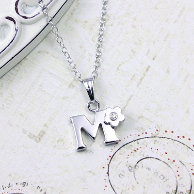 Diamond initial necklace in sterling silver initial necklace initial necklace for girls in sterling silver small flower set with genuine diamond aloadofball Images