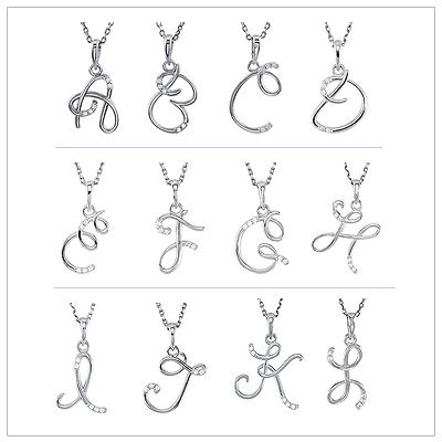 Script Diamond Initial necklace A thru L.